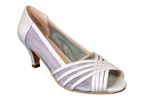 Zapatos de novia con purpurina para mujer, de tacón bajo, para fiestas de noche, tamaño, color Plateado, talla 41 EU