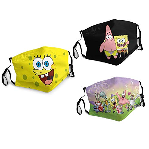 Funny Cloth Face Mask Sponge-Bob Balaclava Bandana Scarf Reusable Washable Adjustable 3 PC with 6 Filters for Adult made in USA