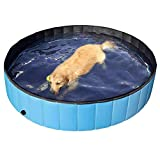 Honelife Foldable PVC Dog Cat Pet Swimming Pool Pet Dog Pool Bathing Tub Kiddie Pool, Water Pond Pool for Dogs Cats and Kids in Summer, 80 * 20cm