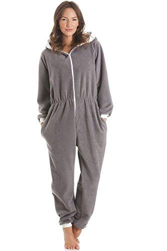 Camille Fleece Hooded All in One Onesie Pyjama L Grey
