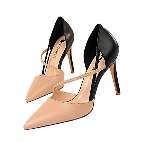 Minetom Damen Frau High Heels Bequeme Sandaletten Sommer Sandalen Absatzschuhe Sexy Schuhe Partyschuhe Offene Sommerschuhe 34-40 Sommerschuhe Für Modebewusste Frau B Nackt 38 EU