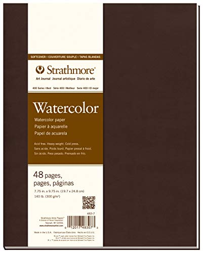 Strathmore 483-7 Softcover Watercolor Art Journal, 7.75' x 9.75', White, 24 Sheets