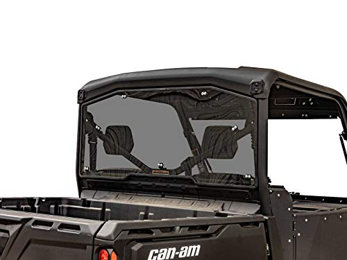 SuperATV Heavy Duty Rear Windshield for 2016+ Can Am Defender HD 5 / HD 8 / HD 10 / MAX   Dark Tinted- 1/4' Thick Polycarbonate 250 Times Stronger Than Glass   Made in USA!