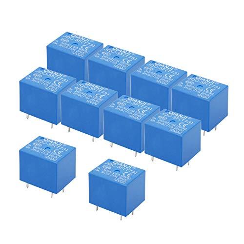 Electrical Buddy JQC3F T73 DC 12V Coil 5 Pins Mini SPST Power Relay PCB Type 10PCS