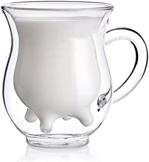 Xshelley Double Wall Glass Cup - Creative Cup Cute Calf Insulated Mugs Thermo Coffee Milk Cups Creamer Pitcher
