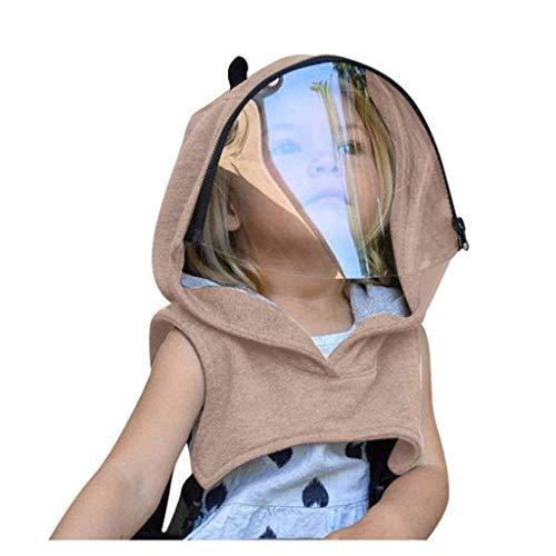 JKKJ Tapa transparente para ventana para niños, niñas, adultos, cobertura completa, reutilizable, extraíble, gorra de moda, capucha y escudos, adecuado para montar al aire libre, correr, senderismo