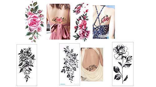 5 SHEETS BLUMEN TATTOO AUFKLEBER FAKE TATTOO SCHWARZ UND BUNT FLOWERS TATTOOS QC1