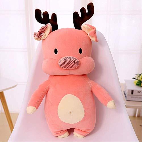 Gtrjin Cute Elk Christmas Stand Pig Figurine 45Cm