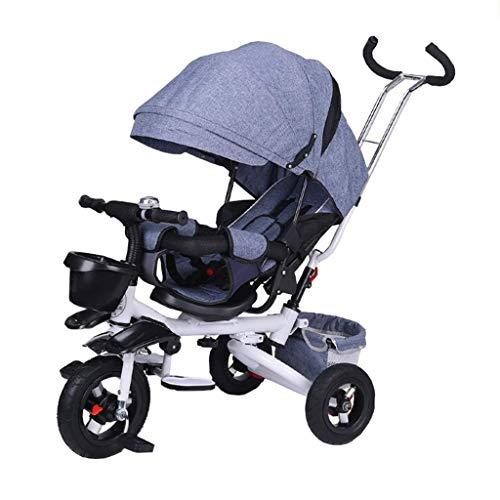 KSW_KKW Ciclismo Infantil Triciclo Plegable for niños de 6 Meses a 6 años de niño y niña Carros Asiento Puede Girar con Montar a Caballo al Aire Libre del toldo Kid (Color : Blue)