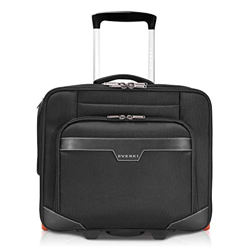 Everki Journey - Business Laptop Trolley met aanpasbaar vak voor notebooks van 11 tot 16 inch (28–40,6 cm), dossierorganisatie, kledingvak, trolley-lus en bijzonder stille wielen, zwart