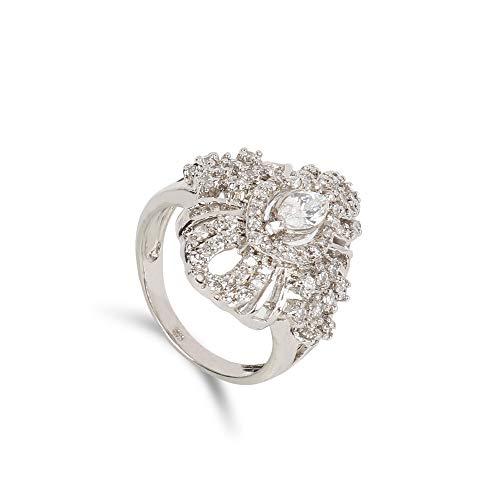GEMHUB Anillo de plata de ley 925 con circonita blanca y acento blanco de 5,5 gramos, anillo de compromiso US-6