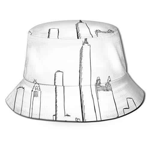 Unisex Fisherman Cap,Hand Drawn City Silhouette Downtown Free Hand Sketch of Panoramic Landmark,Travel Beach Hat