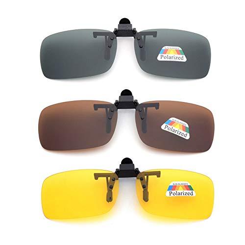 Clip En Las Gafas De Sol 3 Pack, Unisex Uv400 Lente Polarizada Frame-Menos Rectángulo Lente Clip De Tipo Tapa En La Noche De Conducción De Los Vidrios De La Miopía, Al Aire Libre, De Conducción