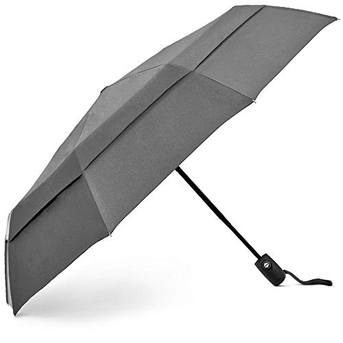 EEZ-Y Compact Travel Umbrella with Windproof Double Canopy Construction - Auto Open and Close Button (Gray, One Size)