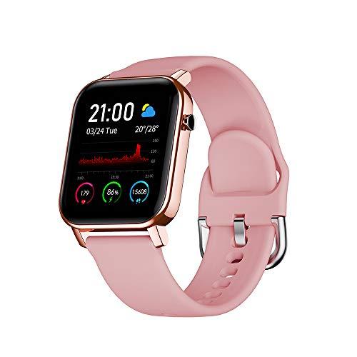 OWSOO Smartwatch, Reloj Inteligente Impermeable IP68, Rastreador de Ejercicios, Pulsómetros, Monitoreo de Sueño, Pantalla Táctil a Color de 1.4 Pulgadas, Pulsera de Actividad para Android iOS, Rosado