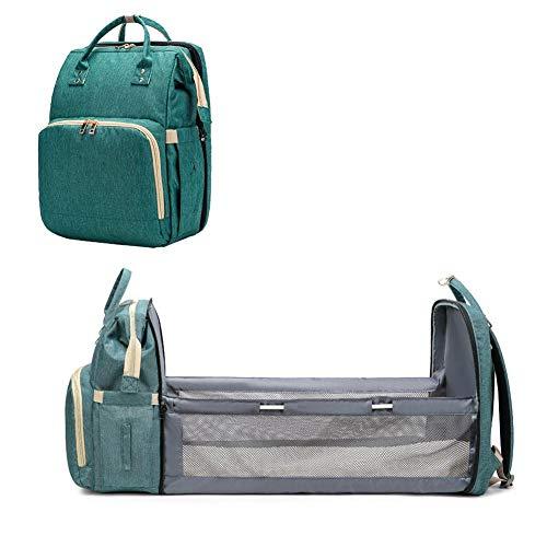 Baby Reisetasche/Reisebett, 4 in 1 Baby Wickelrucksack Wickeltasche mit Wickelunterlage Multifunktional Große Kapazität Babytasche Reisetasche für Unterwegs, Grau