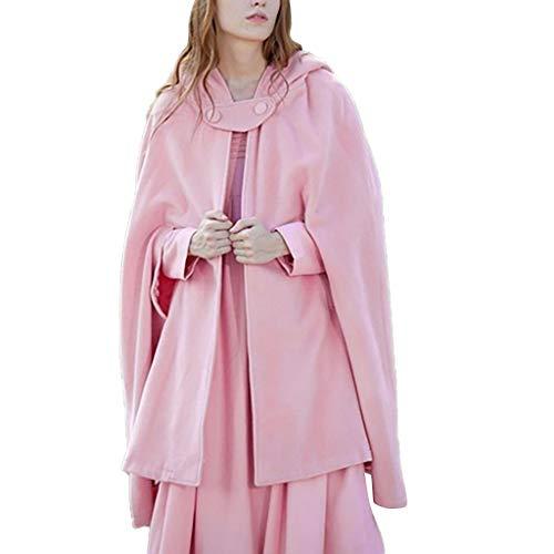 MRULIC Damen FaschingkostüMe Einfarbig Umhang Poncho Mit Hoodie Cosplay Strickjacke Mantel Cape Mittelalter KostüMe Kleid TanzkostüM(Rosa,XL)