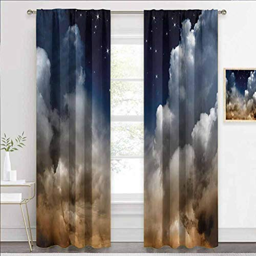 Draperies & Curtains Night Sky, Desert Clouds with Stars Home Decor Window Treatments Draperies for Villa/Hall/Patio Door W72 x L84 Inch
