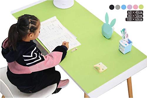 ietome デスクマット ペンのインクも消せる 大きいサイズ おしゃれな大判合皮レザー デスクマット 子ども 男の子 女の子 学習机 オフィス用 防水 黒 (緑, 60x40cm)