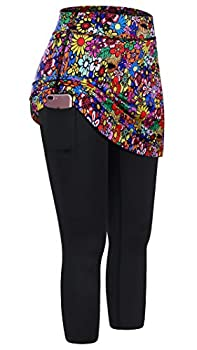 Kimmery Skirt,Tennis Skirts Leggings for Women with Pocket Autumn High Elastic Waist Cosy Weightlifting Exercising Running Biking Sportwear Colorful L