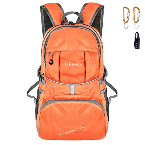Gkeeny 35L Backpack, Lightweight Rucksack Foldable Hiking Daypack Packable Travel Day Backpack Bag for Unisex and Kids Camping Traveling Walking Cycling Climbing Jogging Day Trips (Orange)