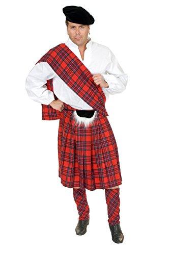 Charades Adult XL Burgundy Red Scottish Kilt Highlander Costume