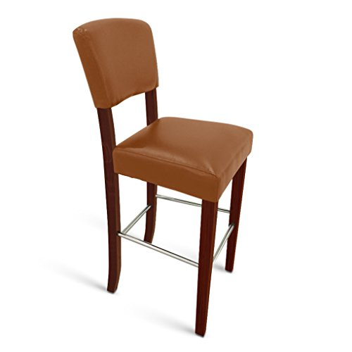 SAM Barhocker Mare, Kunstleder Cappuccino, Beine in Kolonial-Optik, Stuhl mit hoher Rückenlehne