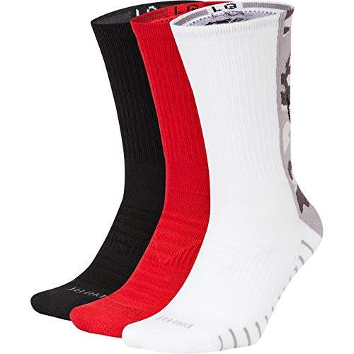 Nike Men`s Everyday Max Cushion Training Crew Socks 3 Pairs (Black(CK0716-902)/Red, Large)