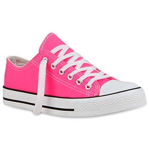 stiefelparadies Damen Sneaker Low Basic Canvas Schuhe Freizeit Turnschuhe Bequeme Sportschuhe Schnürer 115396 Neonpink 36 Flandell