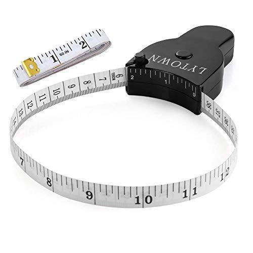 Tape Measure Body Measuring Tape 60inch (150cm), Lock Pin & Push Button Retract, Ergonomic Design, Durable Measuring Tapes for Body Measurement & Weight Loss, Accurate Sewing Tape Measure,2 Pack