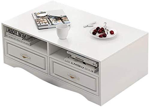 ZXNRTU Diseño Simple Tabla Mesa de Té con Estante de Almacenamiento Sofá Tabla for el hogar Oficina de Estar Muebles de la Sala for la Sala (Color : White, Size : 50x100x42cm)