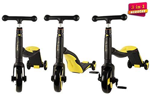AIREL Scooter 3 in 1 | Scooter voor kinderen | Scooter 3 wielen 3 in 1 | Verstelbare loopfiets | Driewieler 3 in 1 voor kinderen | Kinderen speelgoed Bicycle Balance Step Scooter