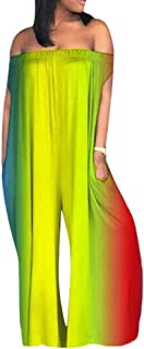 Speedle Women Sexy Off The Shoulder Solid Color Loose Wide Leg Pants Jumpsuits Romper Pockets