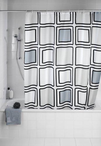 WENKO 20049100 Anti-Schimmel Duschvorhang Mono - Anti-Bakteriell, waschbar, mit 12 Duschvorhangringen, 100 prozent Polyester Mehrfarbig