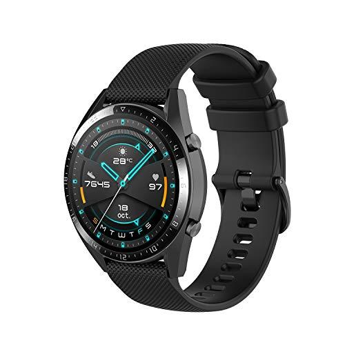 Wownadu 22MM Correa Compatible con Fossil Gen 5, Galaxy Watch 3 45MM Correa, Pulsera Deportiva Silicona Negro Repuesto Compatible con Garmin Vivoactive 4 (Sin Reloj)