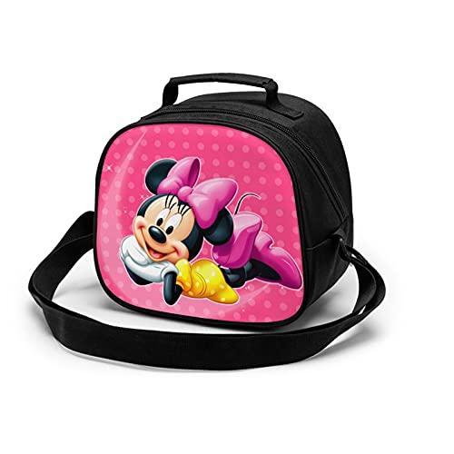 Bonita bolsa de almuerzo con aislamiento de Minnie Mickey Mouse para niños, caja de almacenamiento de alimentos cálida, caja de almuerzo, se puede utilizar en la escuela