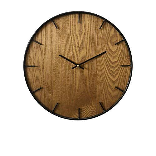 Rebecca Mobili Wanduhr für Wohnzimmer, Wohnzimmeruhr aus Holz, rustikal, Holz Metall, Wohnaccessoires & Deko für Wohnzimmer Küche – Maße: Ø 40 cm x B 4,5 cm - Art. RE6142