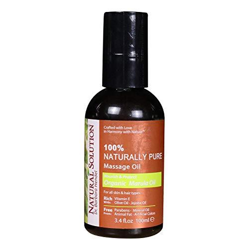 Natural Solution 100% Naturally Pure Massage Oilfor Aromatherapy Relaxing MassageOrganic Marula OilJojoba Oil amp Olive OilHair amp Skin Care BenefitsNourish amp Protect  34 oz