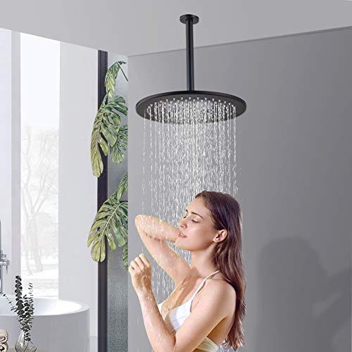 Rozin - Soffione doccia rotondo con braccio da 25 cm, in ottone montato a soffitto, anticalcare, anti-bloccaggio, con ugello in silicone