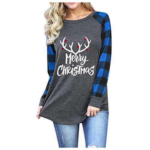 Weihnachten T-Shirt FüR Frauen Upgrade Elch/Baum/Auto/Brief/Hut Druck Karierten T-Shirt Raglan Tops Damen LäSsig LangäRmelige T-Shirt(Blau 5,L)