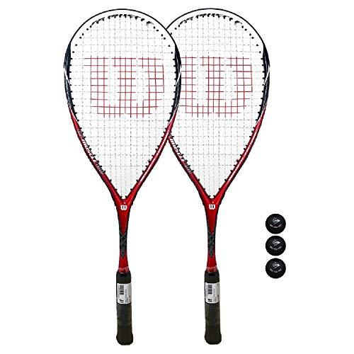 Wilson CS Muscle Squash Raqueta + Pelotas (Varias Opciones Disponibles) (Juego de 2 Raquetas) 🔥