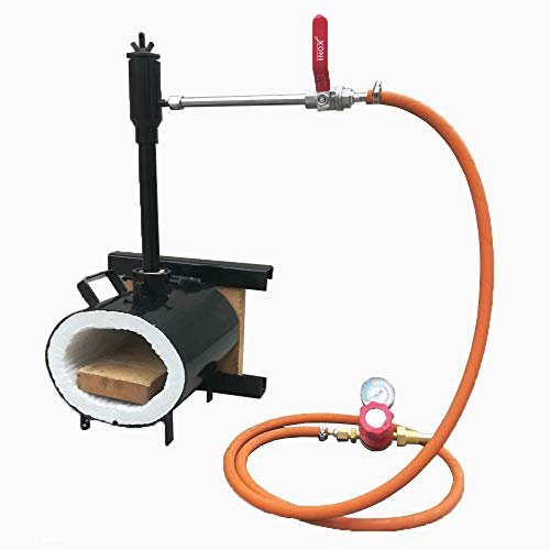 Portable Propane Single Burner with One Side Brick Door Knife and Tool Making Farrier Forge, Oval Shape