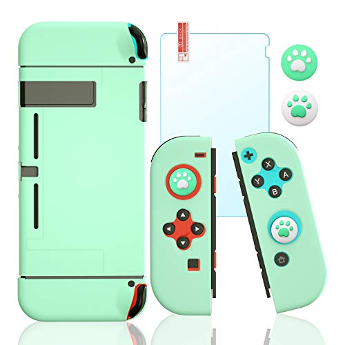 Protective Case for Switch, Covers for Switch with Tempered Glass Screen Protector and Cat Paw Thumb...