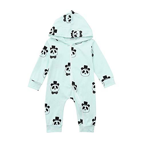 MAYOGO Ropa Oso Panda Bebe Niña Invierno Mameluco Manga Larga Monos con Capucha Cremallera Bebe Niña Recien Nacido Sudadera Hooded Pijama Niña Bebe 0-2 Años