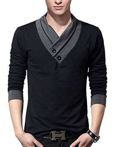 J.STORE [ジェイストア] Vネック 長袖 ロング Tシャツ スカーフ風 カットソー カジュアル シャツ ながそで いんなー めんず おしゃれ 丸首 まとめ買い 色違い ものとーん ふぃっと感 すっきり フィット タイト 細い 男子 ロング袖 ジャケットスタイル テレワーク てれわーく かっちり わんぽいんと ワンポイント デザイン 仕事着 若い 安い フェイク あき J02 ブラック XL
