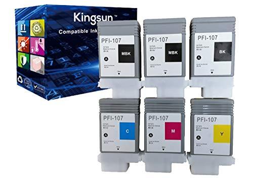 KSI Compatible Ink Cartridge Pigment Replacement for Canon PFI107 PFI-107 IPF6705B001 iPF670 iPF680 iPF685 iPF780 iPF770 iPF785 (2MBK, 1BK, C, M, Y) 6 Pack