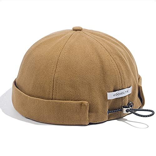 Croogo Einzigartige Kappe mit Kordelzug, Krempenlos, Vintage-Stil, Docker-Hut, gerollte Manschette, Totenkopf-Matrosen-Mütze - khaki -