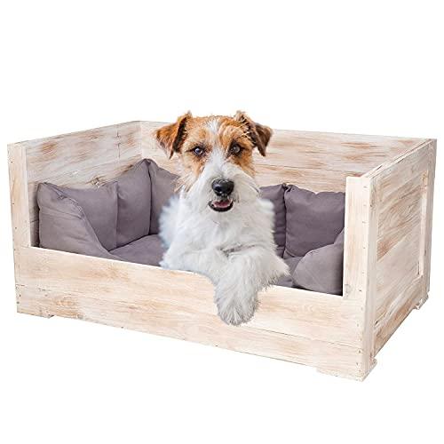 Vintage Möbel 24 GmbH 1x Tolles Hundebett aus Holz mit Polsterung (Groß_ShabbyWeiß)