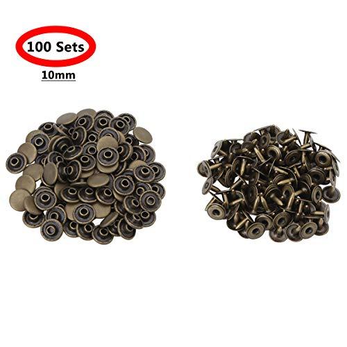 Inhzoy 100 Stück 6 mm/10 mm Metallnieten Einzelkappe Nieten Rohrnieten für Lederhandwerk Schuhe Jacken Jeans Reparaturen Dekoration, antique bronze, 10 mm