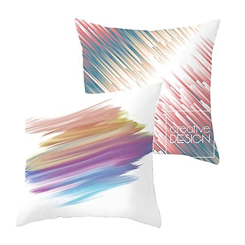 2 pcs Fundas de Cojín Decorativos Líneas de Colores Cuadradas Terciopelo Suave Funda de Almohada Cubierta para Cojines Sofá Sala de Estar Habitación Decor Throw Pillow Case J2096 Pillowcase_55x55cm